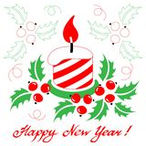 Happy New Year card with a stylized christmas candle on white ba. Happy New Year card with a stylized christmas candle with a holly on white background. Vector vector illustration