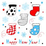 Happy New Year card with a stylized christmas socks on white bac. Kground. Vector Illustration vector illustration