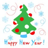 Happy New Year card with a stylized christmas tree on white back. Ground. Vector Illustration vector illustration