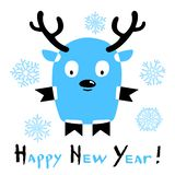 Happy New Year card with a stylized deer on white background royalty free illustration
