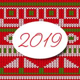 Happy new year 2019 card sweater pattern design vector illustration