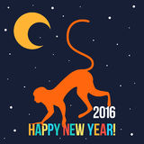 Happy New Year card template with bright red monkey. And cartoon moon for use in design Royalty Free Stock Photography