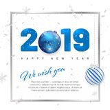 Happy New Year 2019 card template with copy space stock illustration