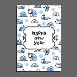 Happy new year card template with cute cartoon polar bear Royalty Free Stock Image