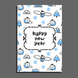 Happy new year card template with cute cartoon snowy owl Stock Photos