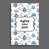 Happy new year card template with cute cartoon snowy owl Stock Photography