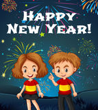 Happy New Year card template with kids and fireworks. Illustration Stock Photos