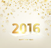 Happy new year card template. Over gray background with golden sparks. Happy new year 2016. Holiday card. Template for your design. Vector illustration Royalty Free Stock Image