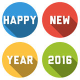 Happy New Year 2016 card with text with long shadow in colorful. Modern Happy New Year 2016 card with text with long shadow in colorful bubbles Royalty Free Stock Photos