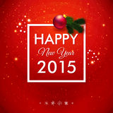 Happy New Year 2015 card. Traditional red background. Stock Photos