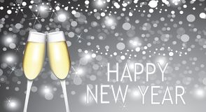 Happy new year card with two champagne glasses. Vector Stock Photos