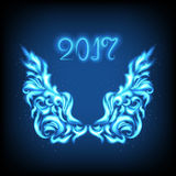 Happy New Year card. Vector 2017 Happy New Year background with abstract wings. Blue angels wings on a dark blue background. Luminosity vector lines Royalty Free Stock Photos