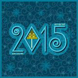 Happy new year card.Vector blue illustration Stock Photos