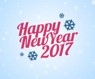 Happy New Year 2017 card. Vector illustration with calligraphic text and snowflakes. Flat style Royalty Free Stock Images