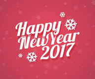 Happy New Year 2017 card. Vector illustration with calligraphic text and snowflakes. Flat style Stock Photo