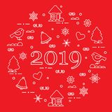 Happy New Year 2019 card. Vector illustration. Happy New Year 2019 card. Christmas trees, birds, houses, gingerbread, bells, stars, hearts, snowflakes royalty free illustration