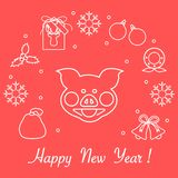 Happy New Year 2019 card. Vector illustration. Happy New Year 2019 card. Christmas wreath, pig, gift tag, mistletoe, gift bag, balls, bells, snowflakes. Pig is royalty free illustration