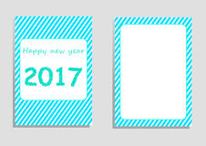 Happy new year 2017 card, vector, illustration, copy space for text. Editable template, cover paper, brochure, vertical orientation, blue and green shade, star Stock Photos
