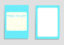 Happy new year 2017 card, vector, illustration, copy space for text. Editable template, cover paper, brochure, vertical orientation, blue and green shade Royalty Free Stock Photo