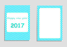 Happy new year 2017 card, vector, illustration, copy space for text. Editable template, cover paper, brochure, vertical orientation, blue and green shade Stock Photo