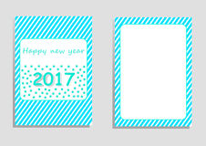 Happy new year 2017 card, vector, illustration, copy space for text. Editable template, cover paper, brochure, vertical orientation, blue and green shade, star Royalty Free Stock Photo