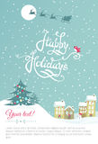 Happy New year card - Vector Illustration with New Year lettering Stock Photo