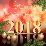 2018 Happy New Year card Vector illustration red bokeh backgrounds. 2018 Happy New Year card Vector illustration red bokeh background Royalty Free Stock Photography