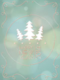 Happy New Year Card. Vintage with bokeh. Vector illustrator Stock Photo