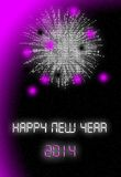 Happy new year 2014. Card violet Royalty Free Stock Image