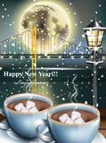 Happy New Year card with warm drinks over snowy winter background. Full moon and night bridge silhouette Vector. Illustration vector illustration