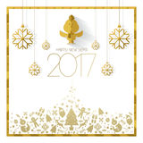 Happy new year 2017 card. White gold Royalty Free Stock Photo
