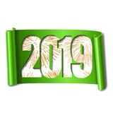 Happy new year card. White number 2019, gold firework. 3D scroll isolated white background. Green ribbon handscroll. Curved frame ribbon border Design stock illustration