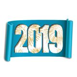 Happy new year card. White number 2019, gold firework. Scroll 3D isolated white background. Blue ribbon handscroll. Curved frame ribbon border. Design royalty free illustration
