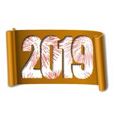 Happy new year card. White number 2019, red firework. 3D scroll isolated white background. Orange ribbon handscroll. Curved frame ribbon border Design stock illustration