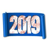 Happy new year card. White number 2019, red firework. 3D scroll isolated white background. Blue ribbon handscroll. Curved frame ribbon border Design decoration royalty free illustration