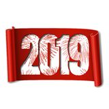 Happy new year card. White number 2019, red firework. Scroll 3D isolated white background. Ribbon handscroll. Curved. Frame ribbon. Design decoration. Christmas stock illustration