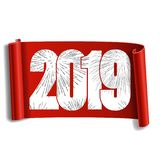 Happy new year card. White number 2019, silver firework. 3D scroll isolated white background. Red ribbon handscroll. Curved frame ribbon border Design stock illustration
