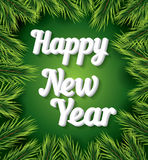 Happy New Year card with white text on green background. Happy New Year card with white text on green background and pine branch. New Year invitation. Vector stock illustration