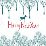 Happy New year card with winter forest Royalty Free Stock Photos
