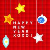 Happy new year card. Happy New Year wishes or card, with ornaments over red squares background stock illustration