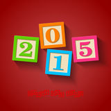 Happy New Year 2015 card. Wooden blocks Stock Photo