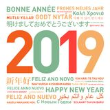 Happy new year card from the world. 2019 Happy new year card from the world in different languages vector illustration
