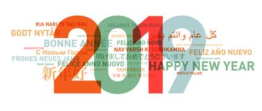 2019 Happy new year card from the world. In different languages vector illustration