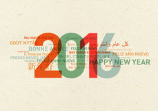 Happy new year card from the world. In different languages Royalty Free Stock Photo