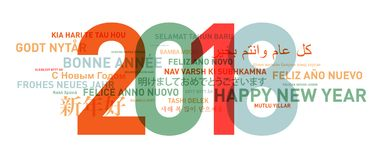 Happy new year card from the world. In different languages royalty free illustration