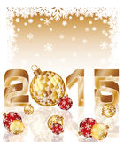 Happy new 2015 year card with xmas balls Stock Photography