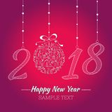 Happy new year card. The year depicted in the hand-painted style. Christmas toy with the hand painted Christmas icons. Royalty Free Stock Photography