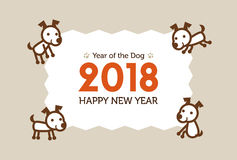 Happy New Year Card 2018, year of the dog Royalty Free Stock Images