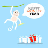 Happy New Year card 2016, Year of Monkey. Happy New Year greeting card 2016, Year of Monkey, vector illustration Stock Photography
