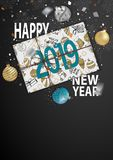 Happy New Year 2019 Card for your design. Vector illustration stock illustration